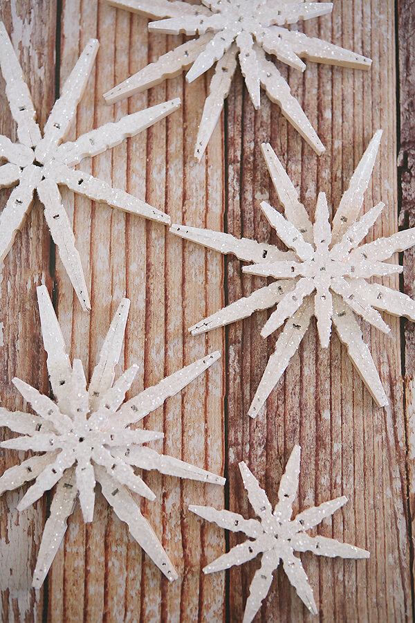 Snowflake Shaped Glittered Clothespin