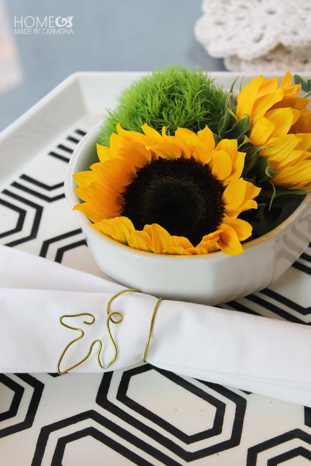 Easy Bendable Gold Wire Leaf Napkin Ring