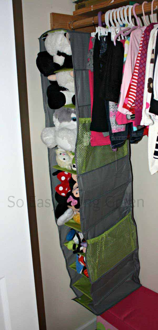 Re-used Closet Organizer for Easy Stuffed Toy Access