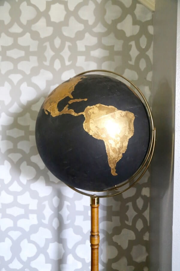 A Black and Gold World Globe
