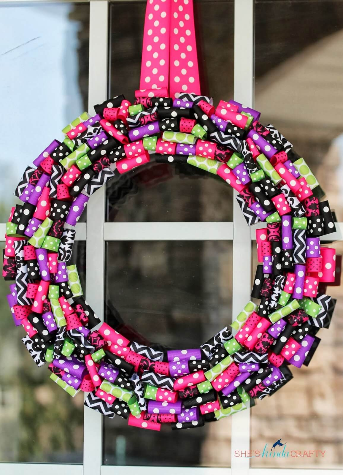 Candyland Inspired Bright Ribbon Wreath