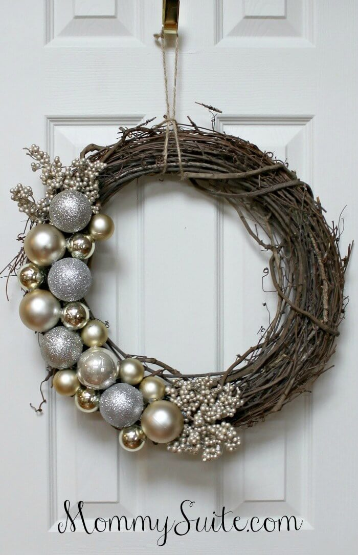 Silver Ornaments and a Grapevine Wreath