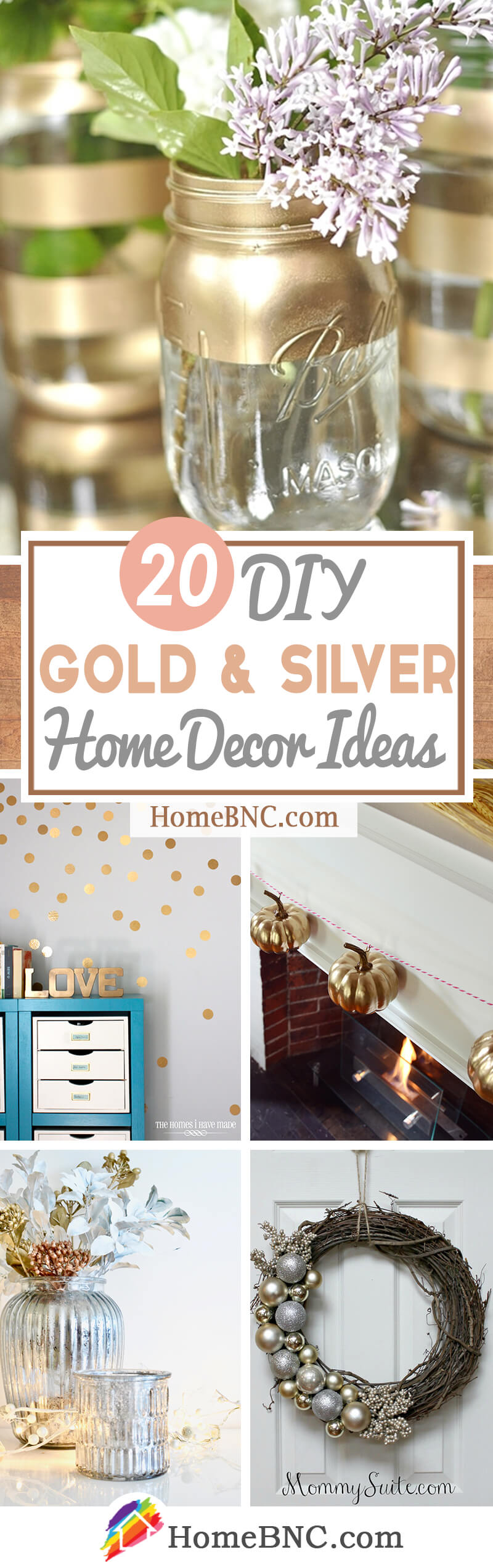 DIY Silver and Gold Decor Ideas