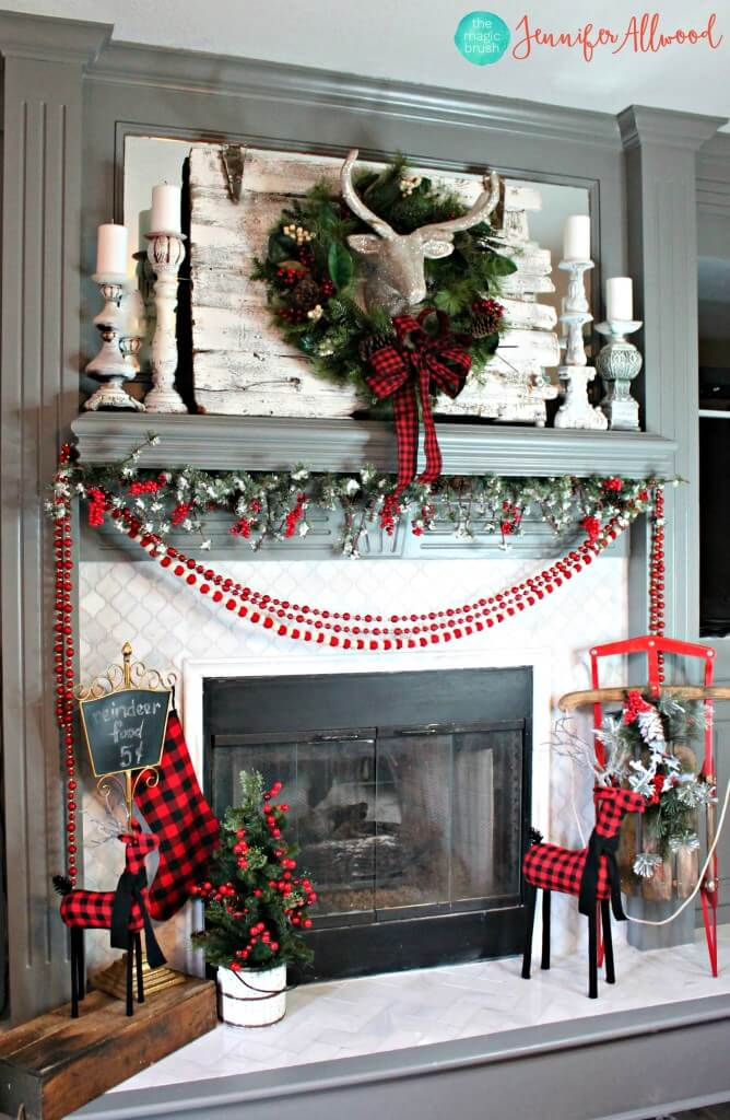 Red Plaid and Sparkling White Fireplace