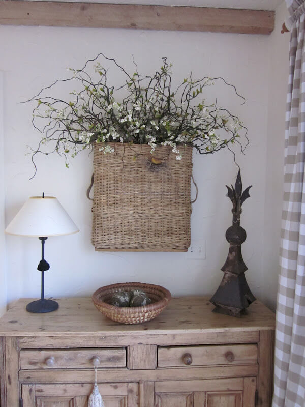 Woven Rustic Basket With Spindly Twigs