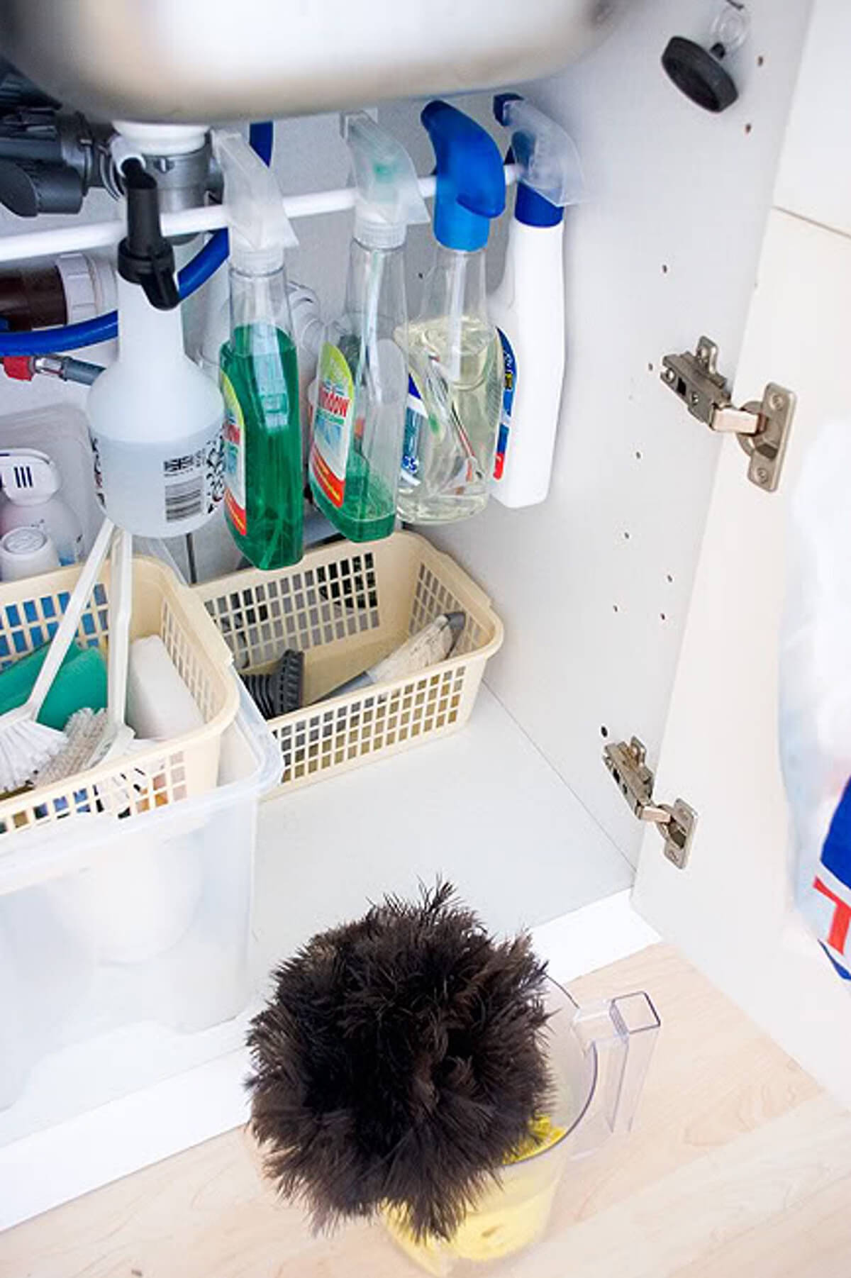Tighten Up Under Sink Area with Tension Rods