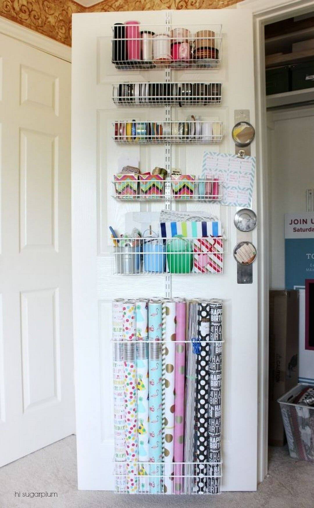 Over Door Storage Makes Giftwrap a Snap
