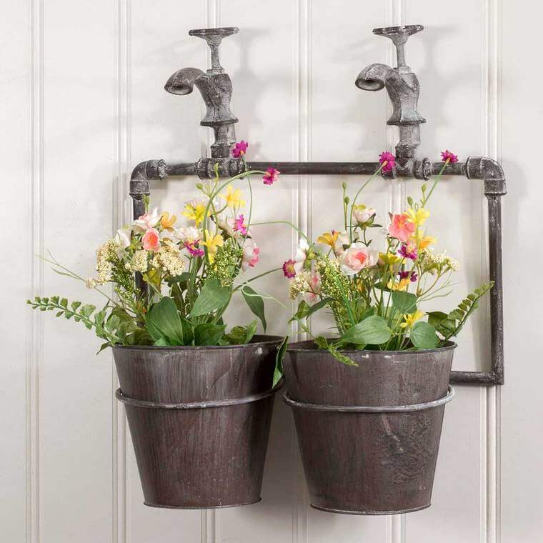 Garden Flower Buckets With Rustic Charm