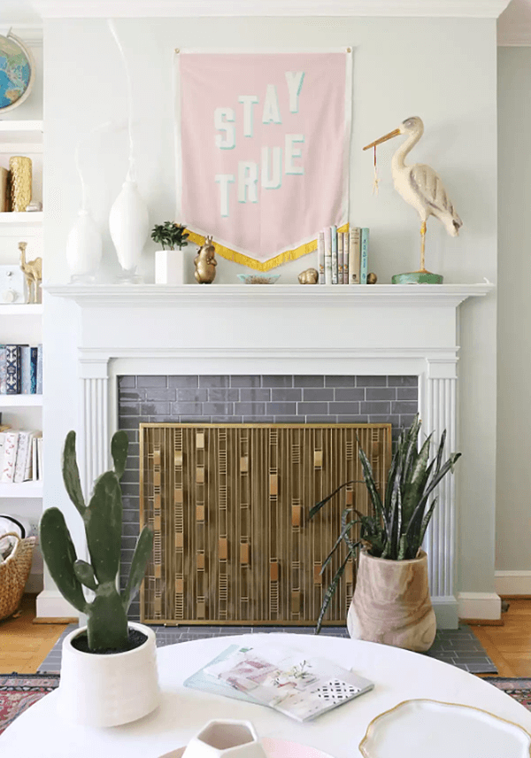 White, Pink, and a Modern Fireplace Screen