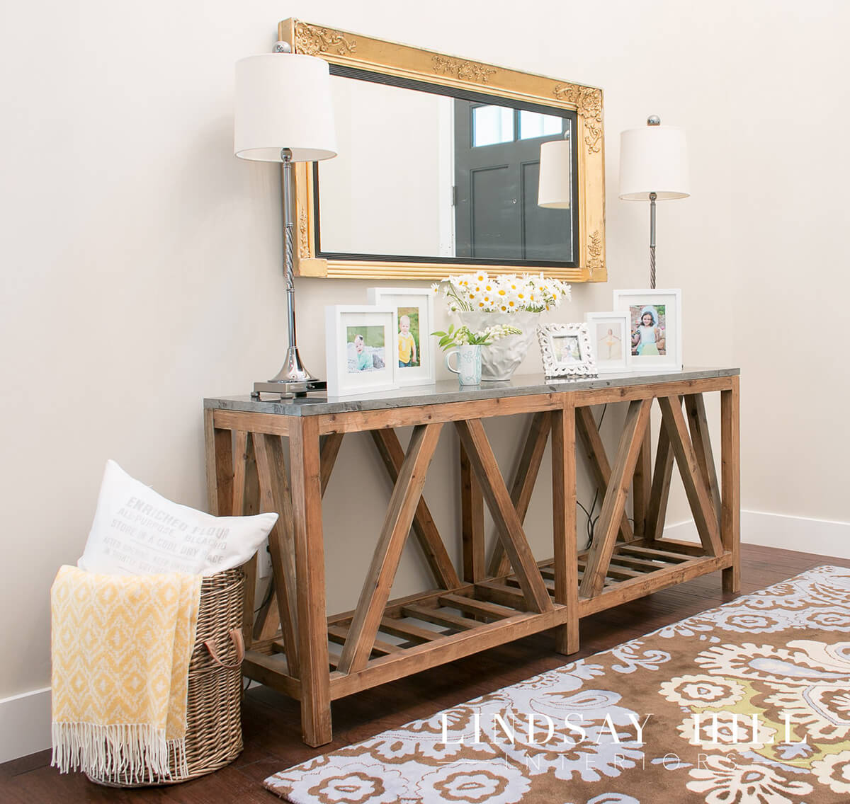 Long and Narrow Natural Wood Console