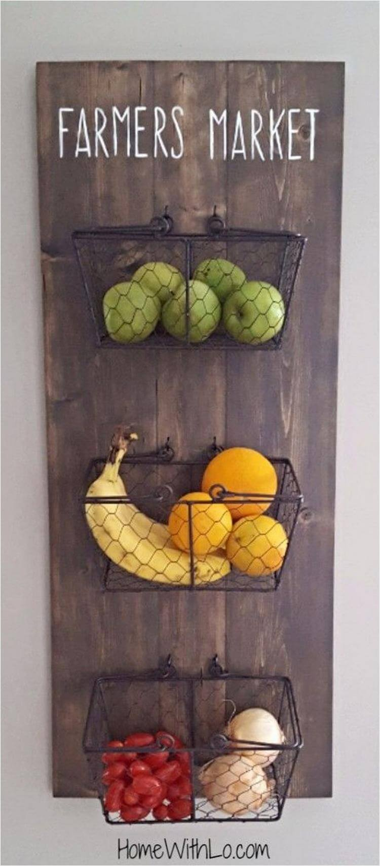Wooden Board Fruit Basket Holder