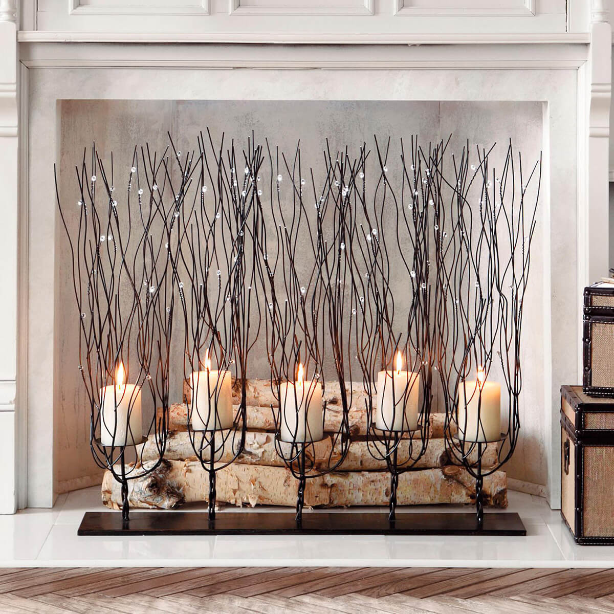 Candles, Twigs and Crystals in a Fireplace