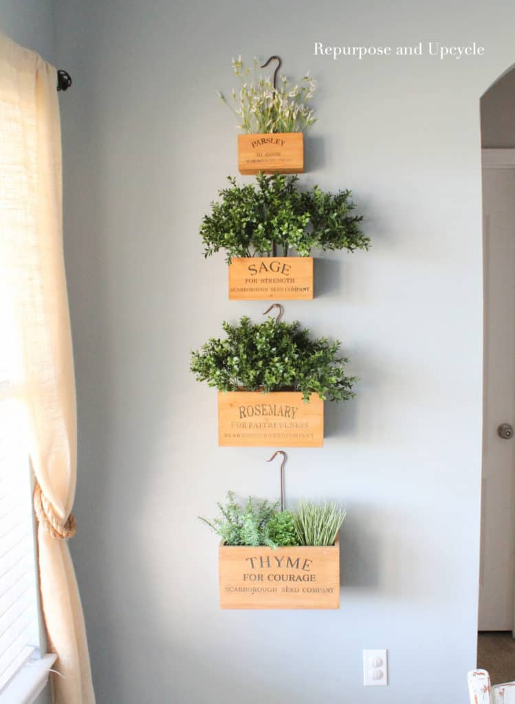 Hanging Herb Garden With Wooden Boxes