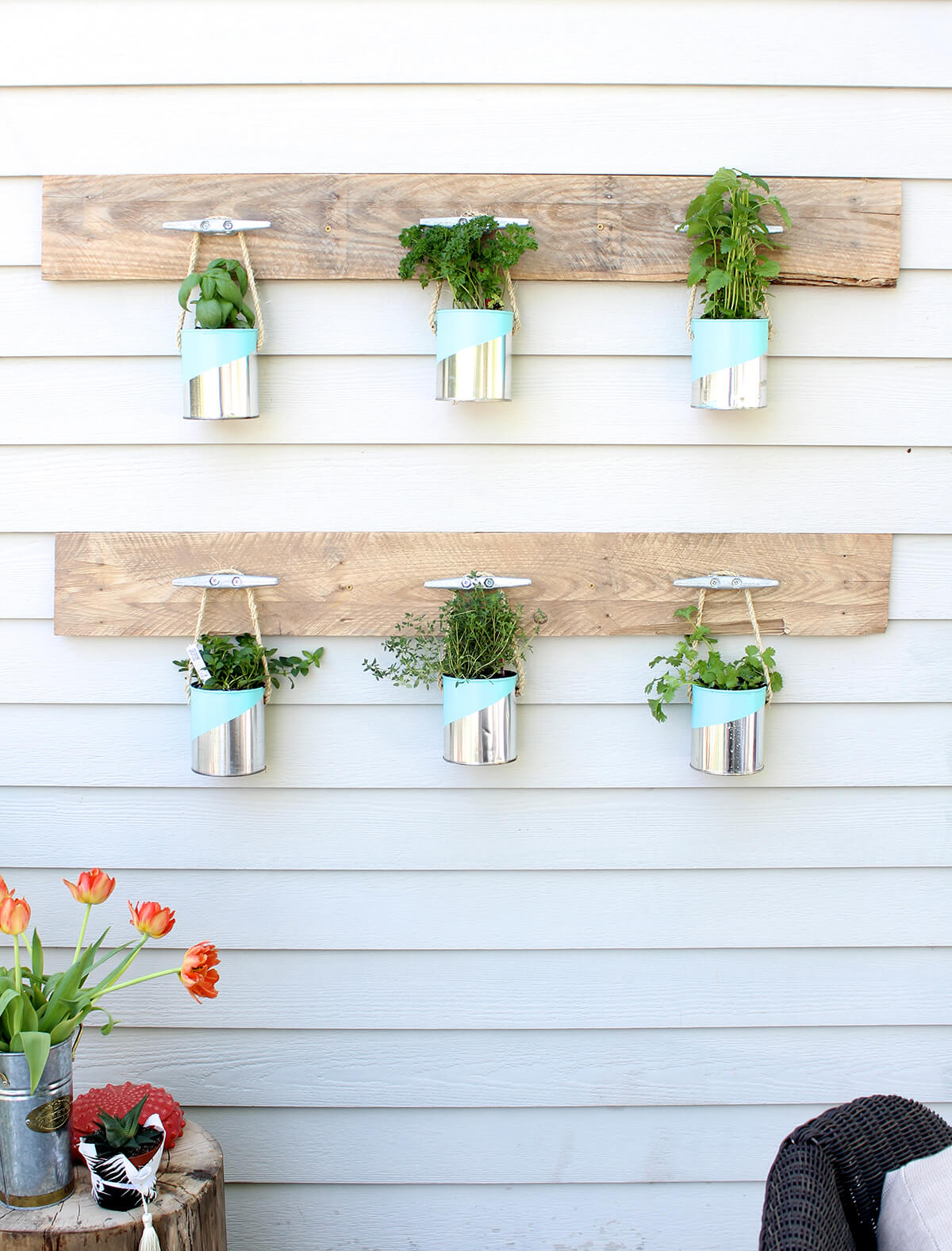 Recycled Buckets and Wooden Pallets