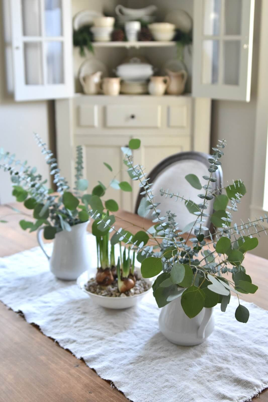 Gentle Green and Bright White Farmhouse Display