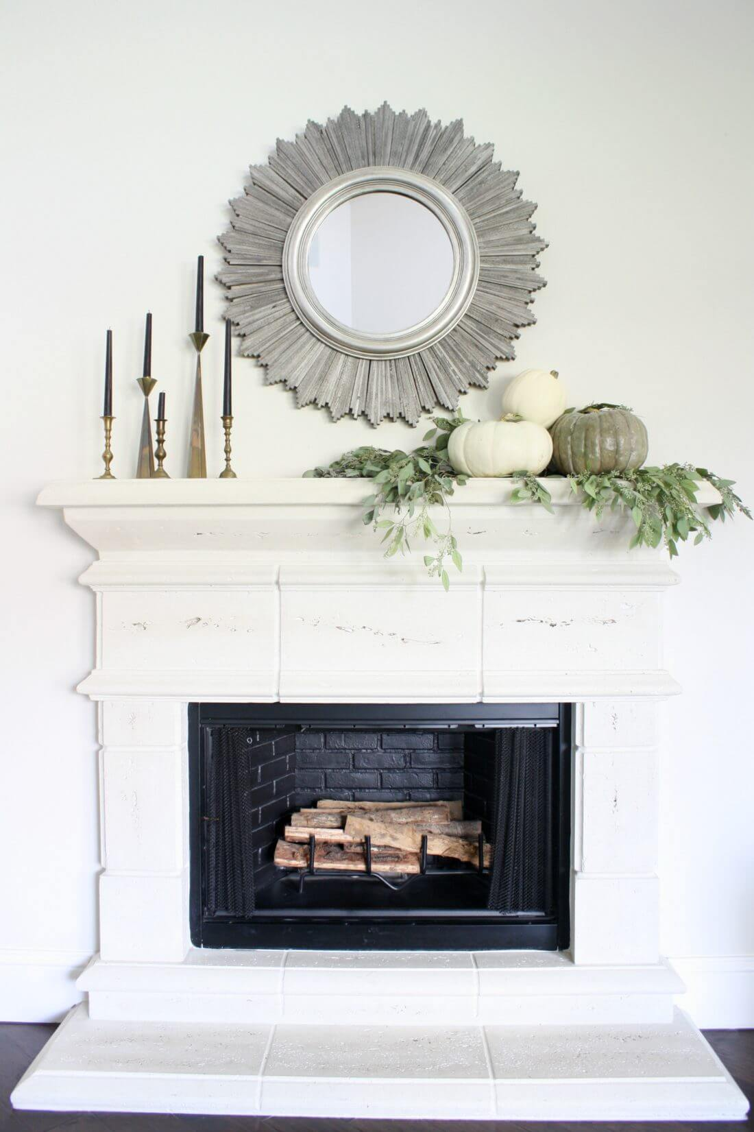 A Fireplace in White and Gray