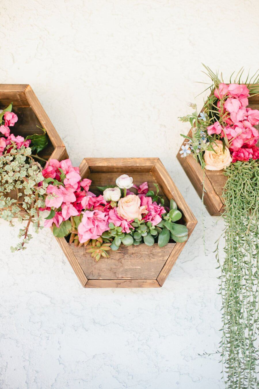 Beautifully Overflowing Wooden Hexagon Planters