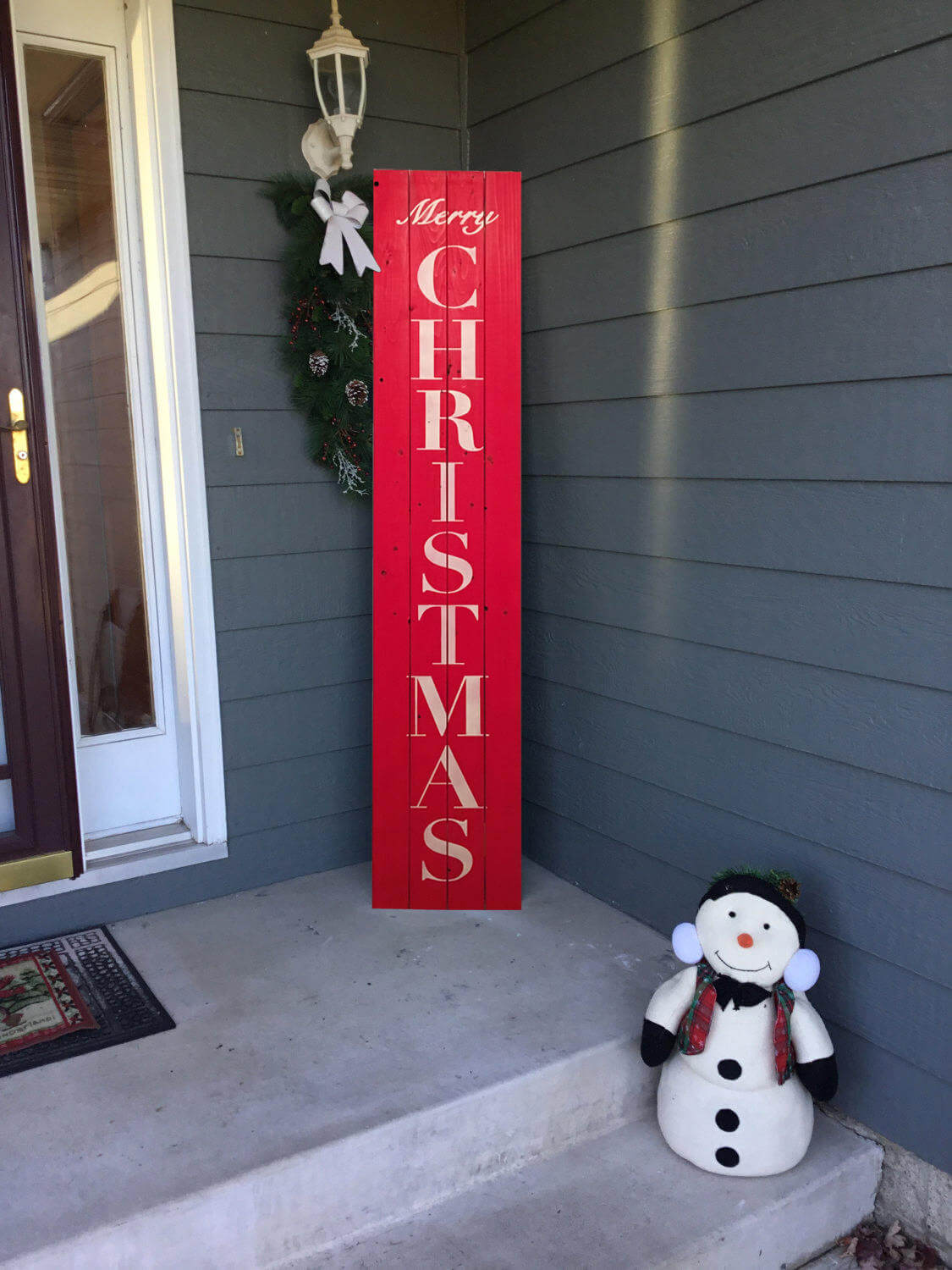 Vertical Merry Christmas Front Door Sign