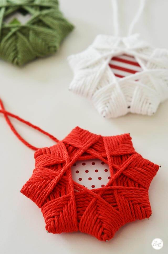 Christmas Tree Yarn Woven Star Decoration