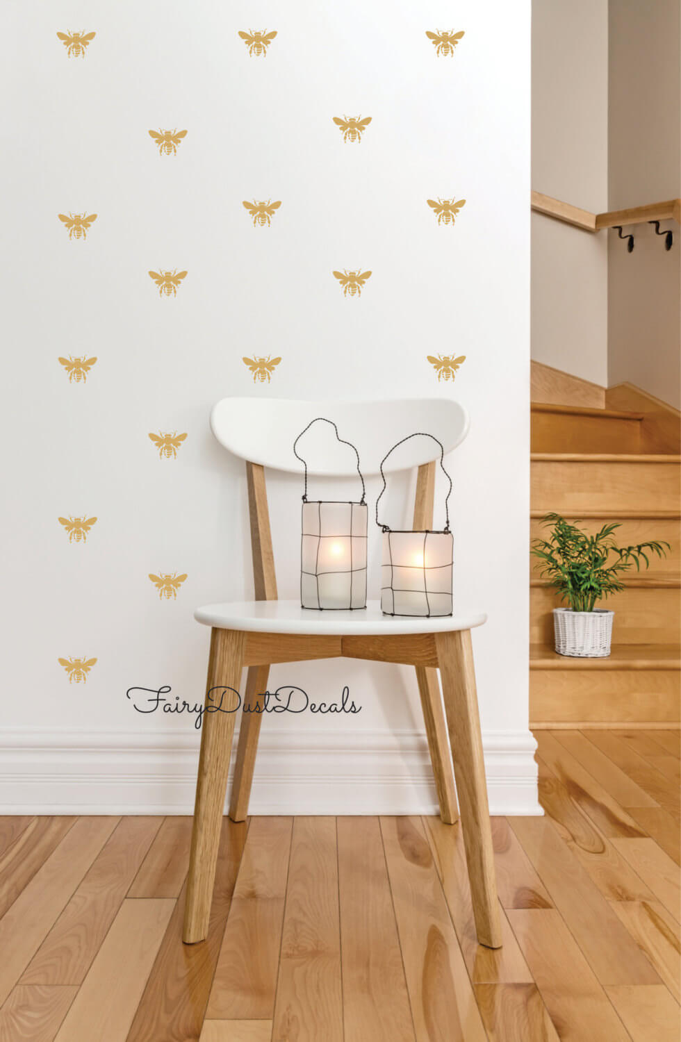 Gold Honey Bee Vinyl Wall Decals