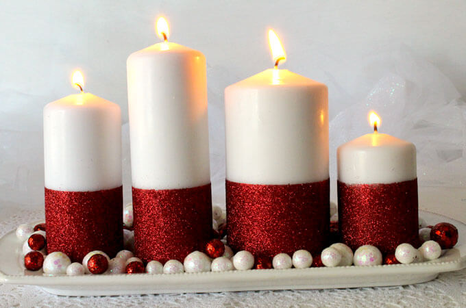 Red, White and Glowing Candles