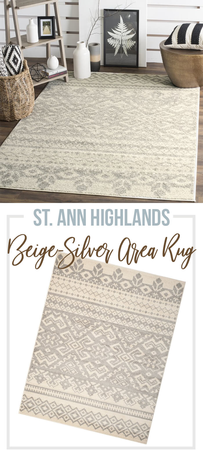 Masterfully Woven Beige & Silver Area Rug