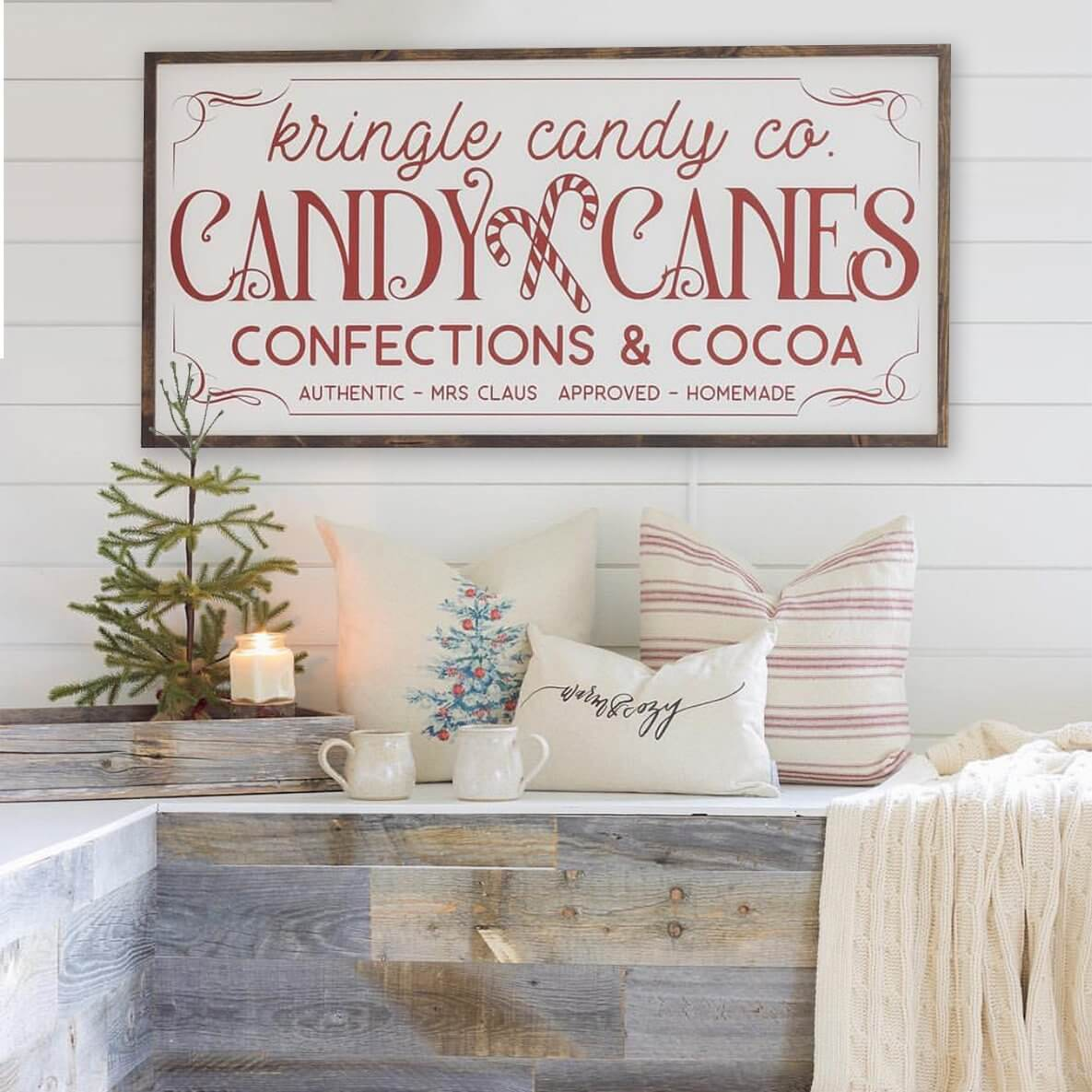 Vintage-styled Kringle Candy Co. Sign