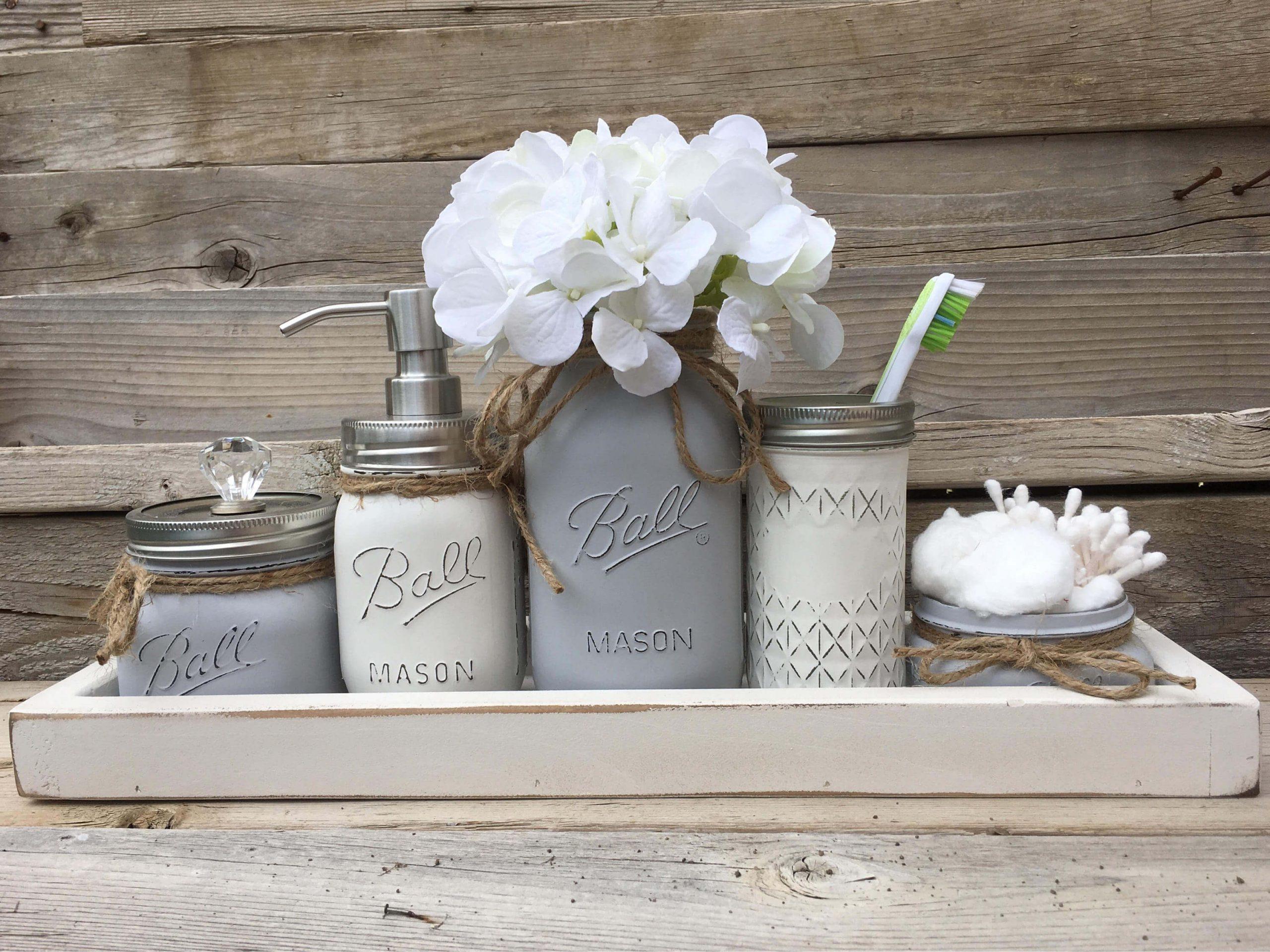 Chic Rustic Mason Jar Bathroom Set