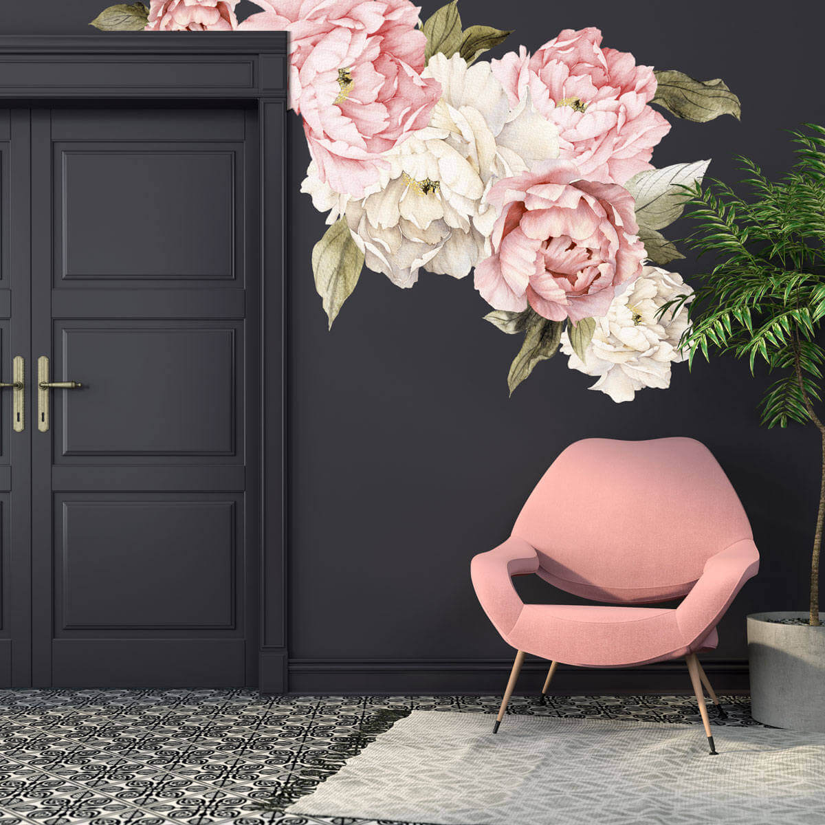 Watercolor Peony Large Self Adhesive Wallpaper
