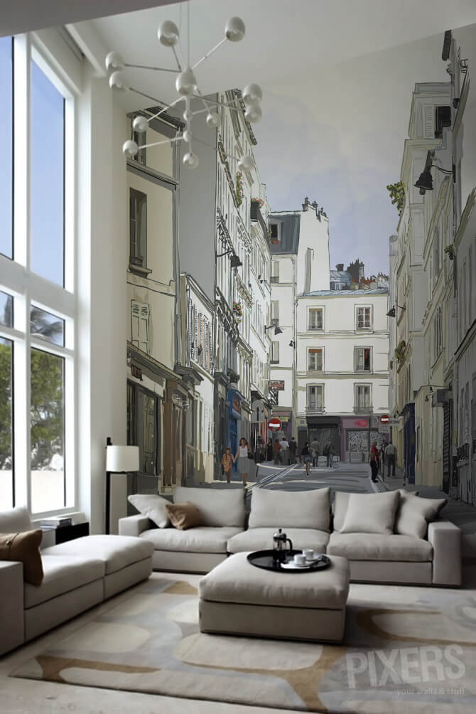 Walk into a Parisian Street Scene Wall Decor