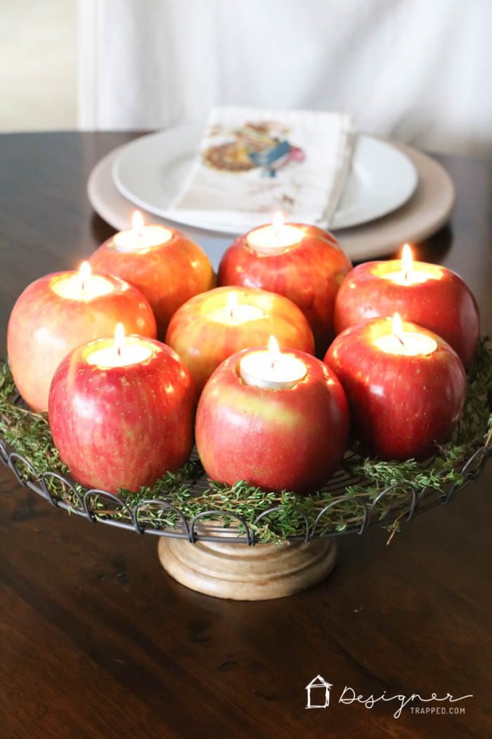 The Beauty of Apples as Candleholders