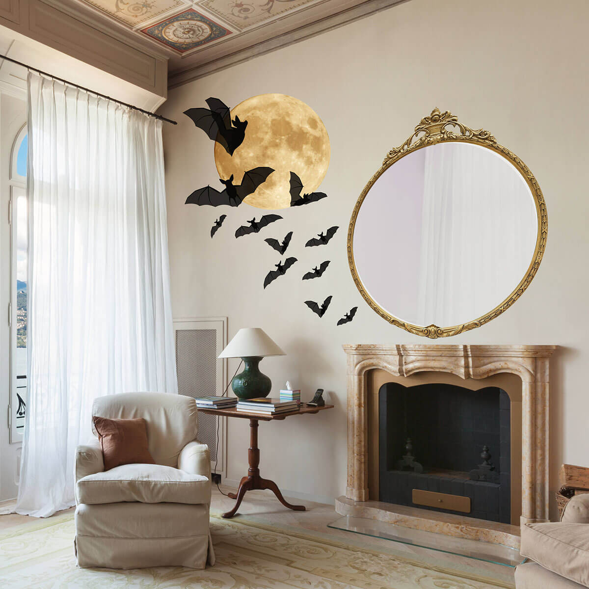 Spooky Bats and Moon Halloween Wall Decor
