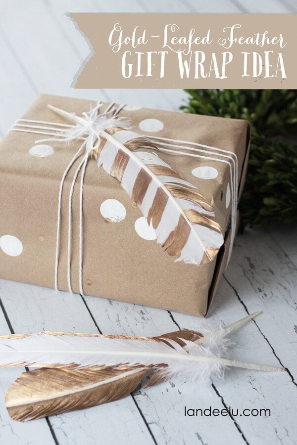 Gift Wrap with Feathers and Polka-dots