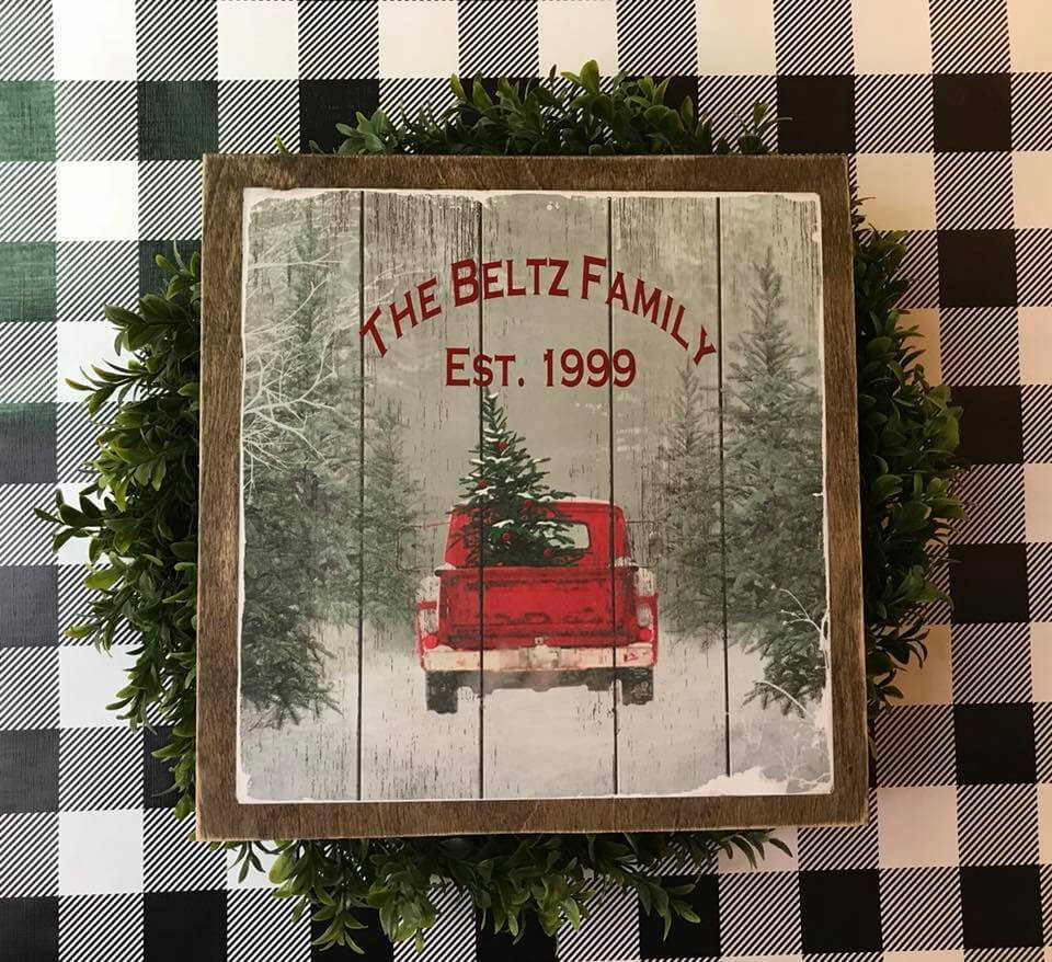 Personalized Family Christmas Tree Truck Sign