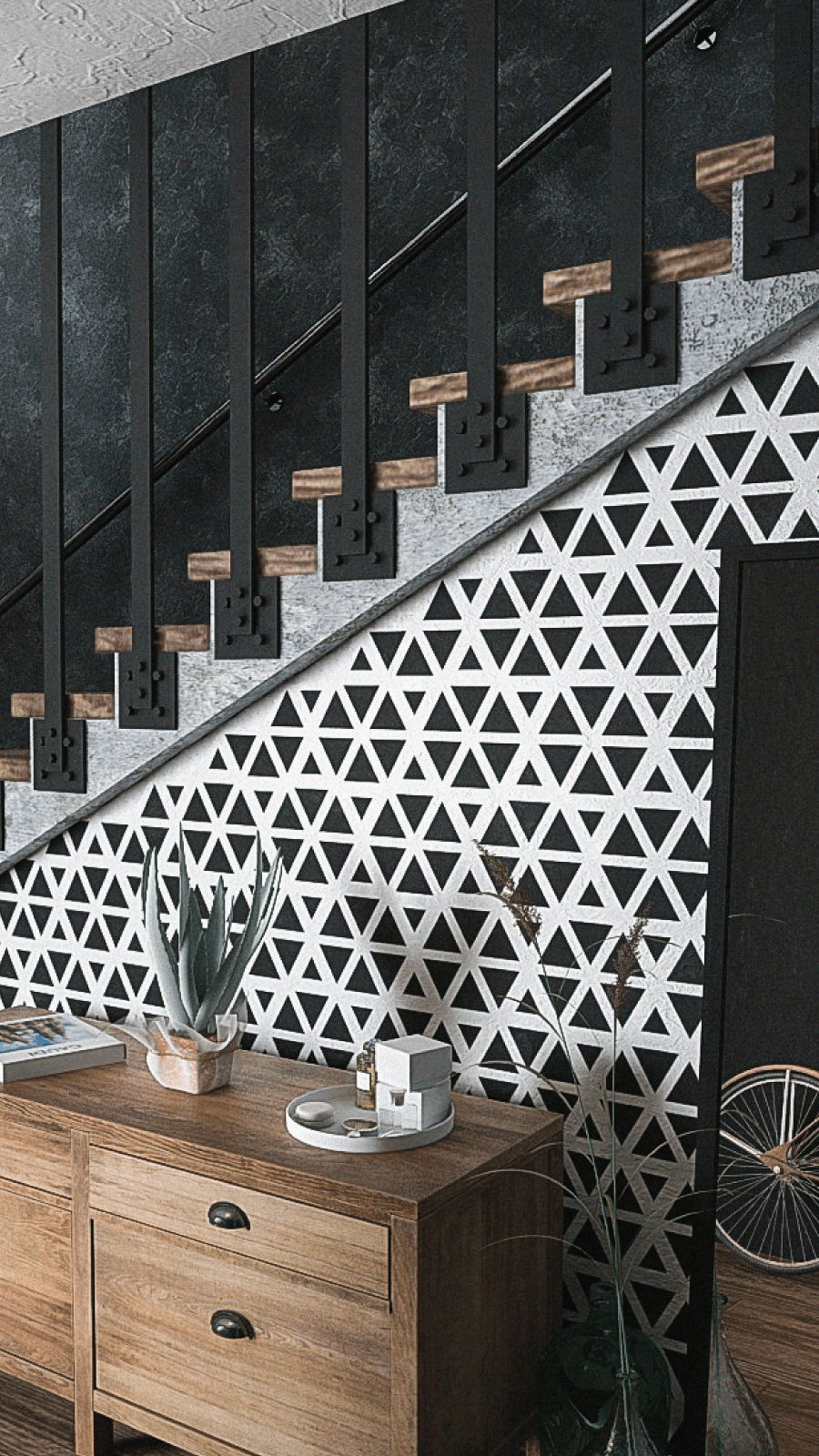 Black and White Geometric Pattern Wall Stenci