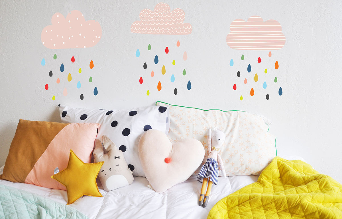 Colorful Rainbow Rain Drops Sticker