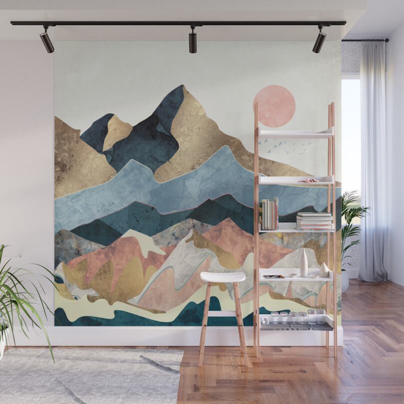 Blue Pinks Beige Desert Mountain Wall Art