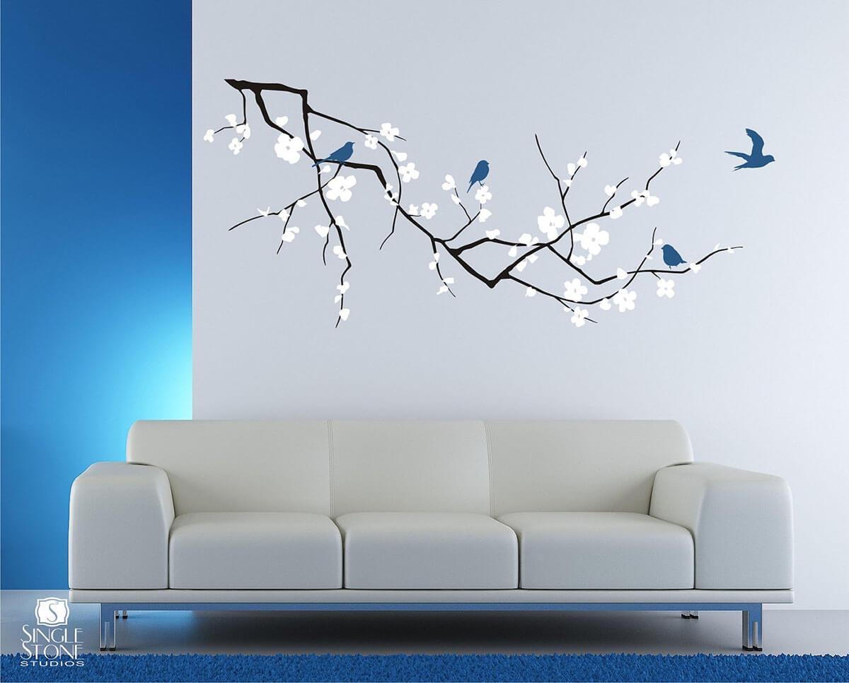 Cherry Blossoms and Blue Birds Wall Art