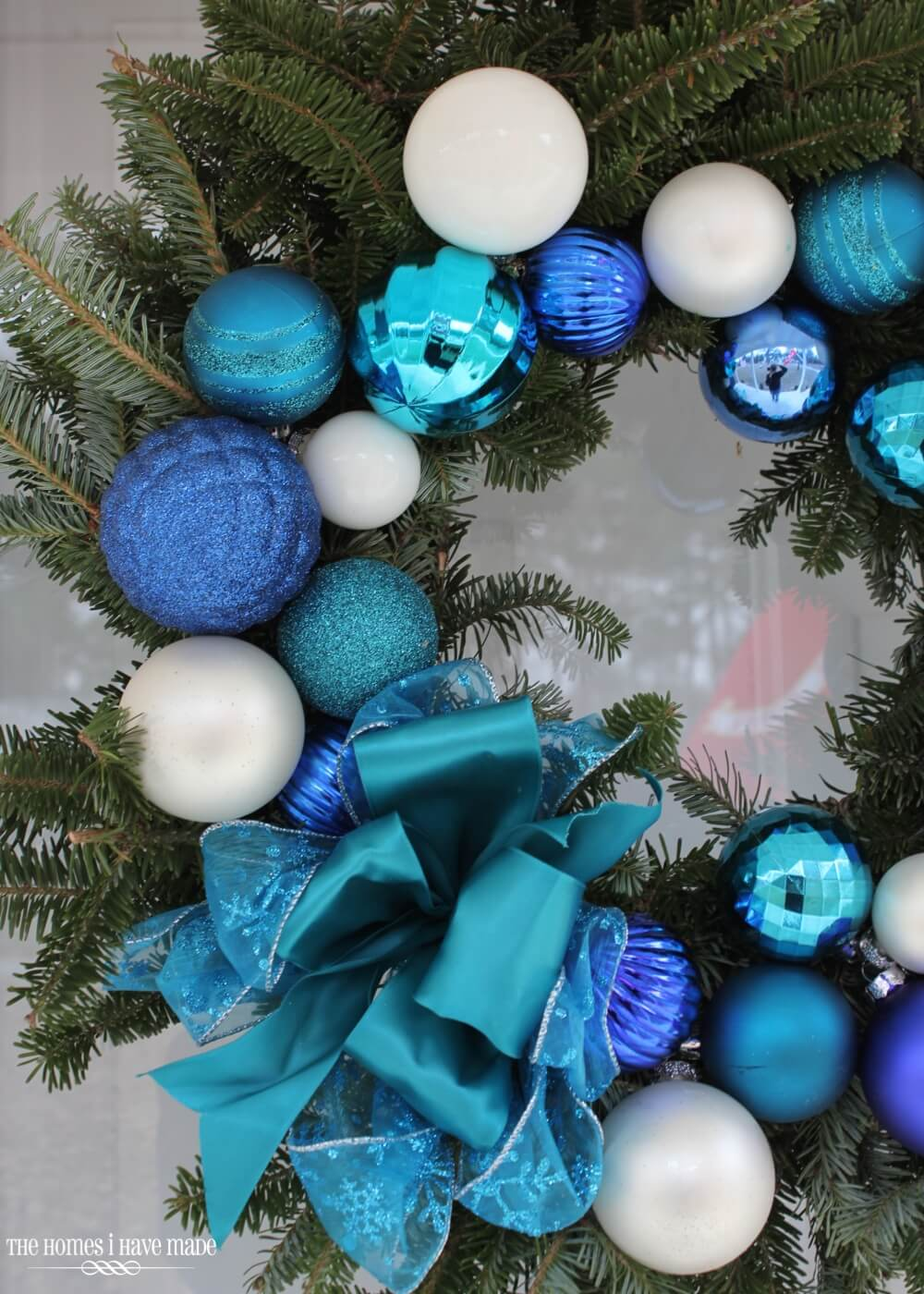 Christmas Wreath with Bright and Bold Blues