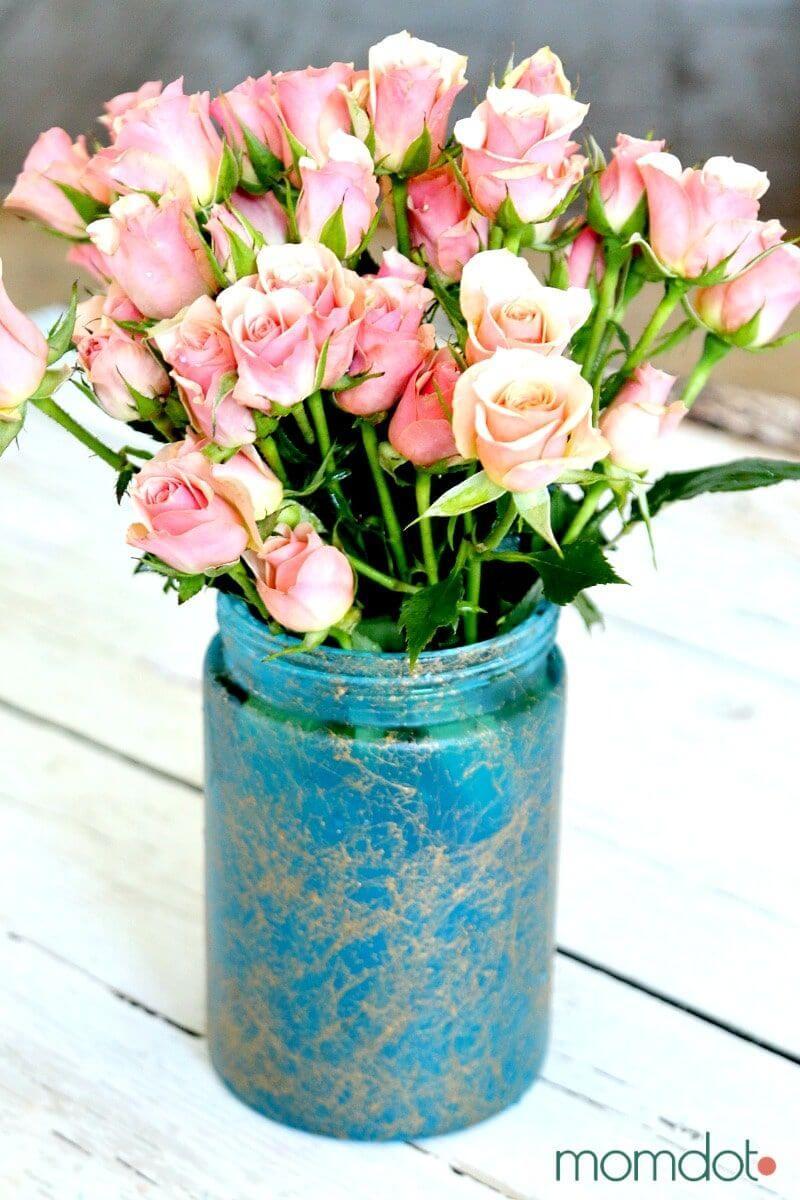 Shabby Chic Mason Jar Floral Arrangement