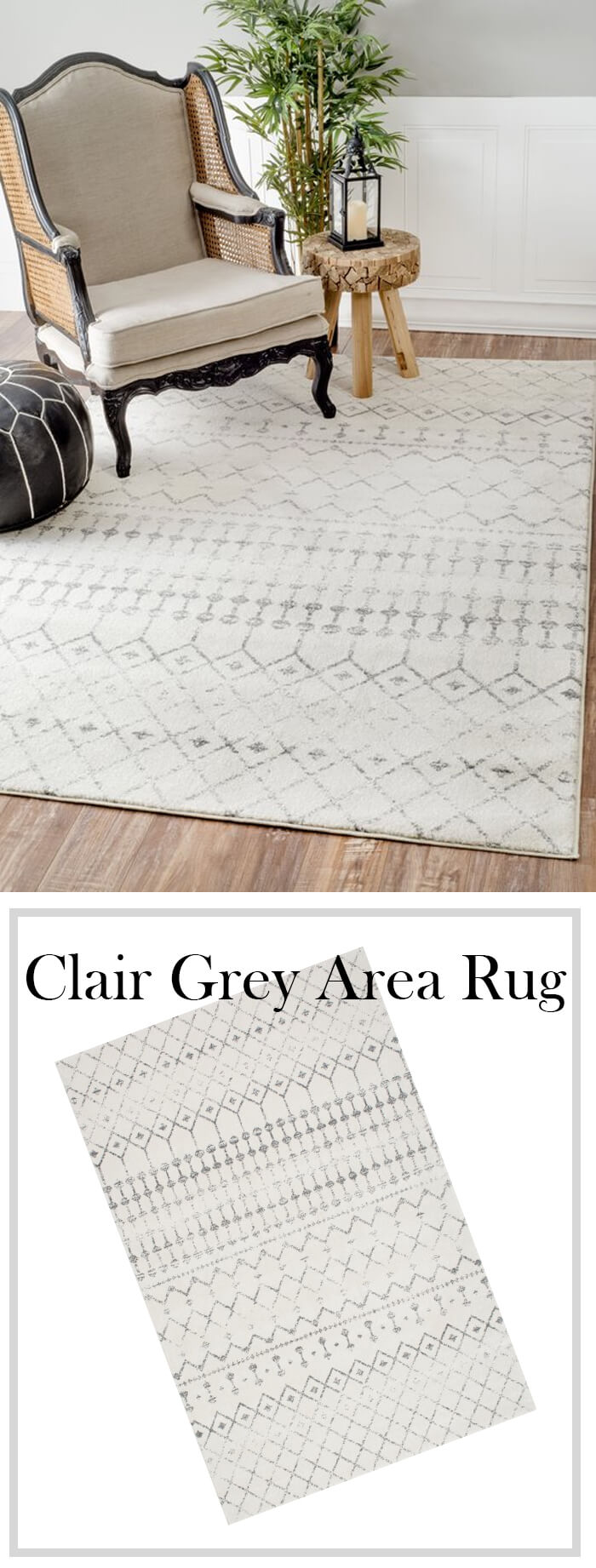 Cute, Upscale Grey Farmhouse Area Rug