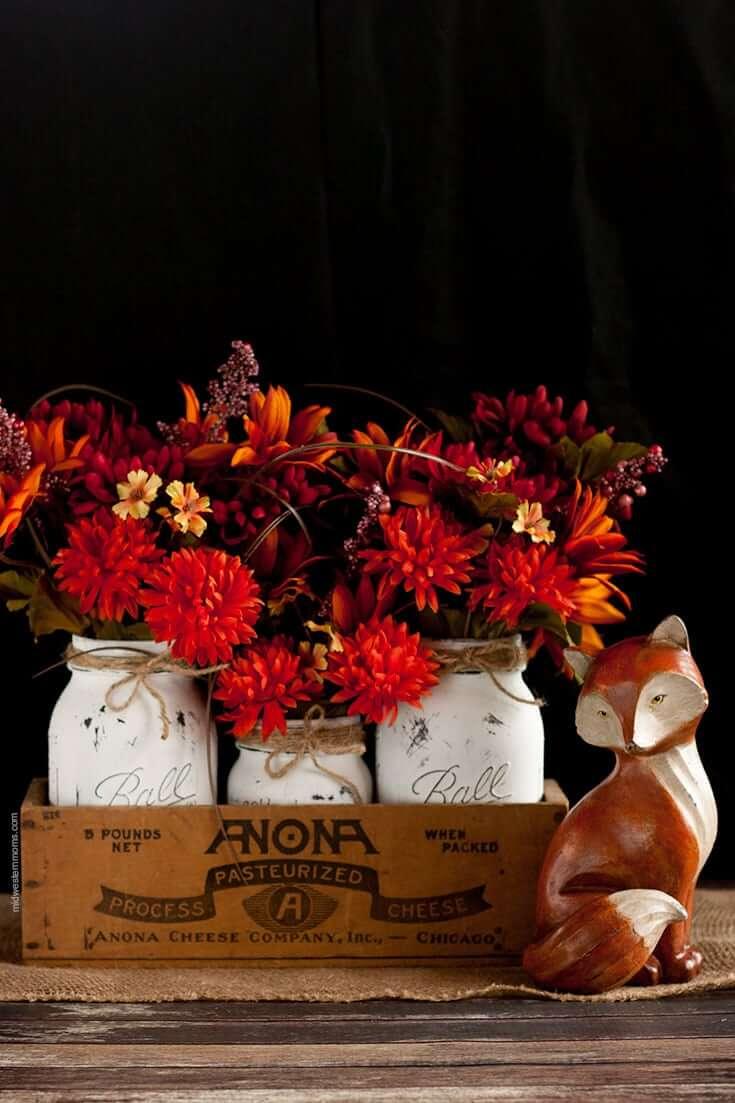 Distressed Fall Inspired Mason Jars