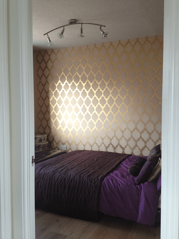 Dramatic Gold Stenciled Trellis Pattern