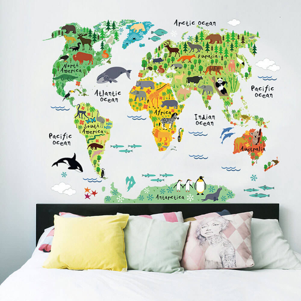 Cute Cartoon World Map Decal