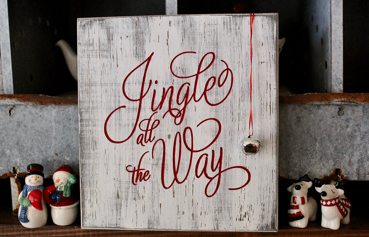 Jingle All the Way Bell Wooden Sign
