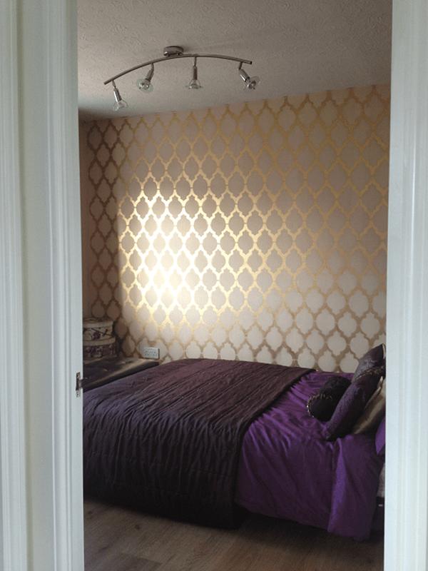 Dramatic Gold Stenciled Trellis Pattern