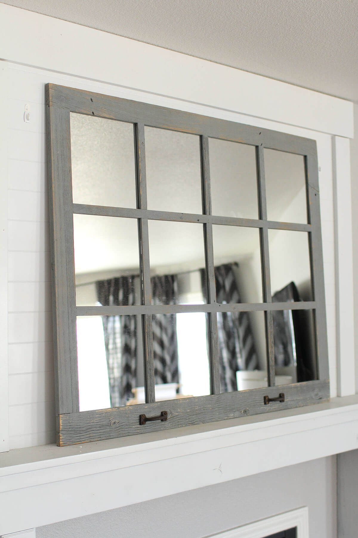 Light Grey Rustic Window Frame Mirror