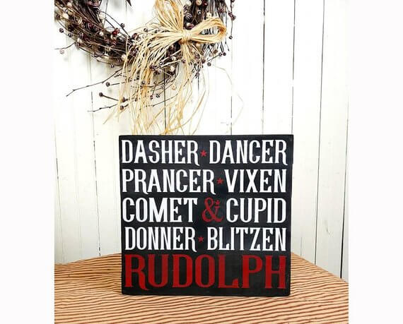 Reindeer Names Rustic Vertical Wood Sign