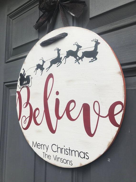 Believe Wreath Simple Rustic Wood Sign