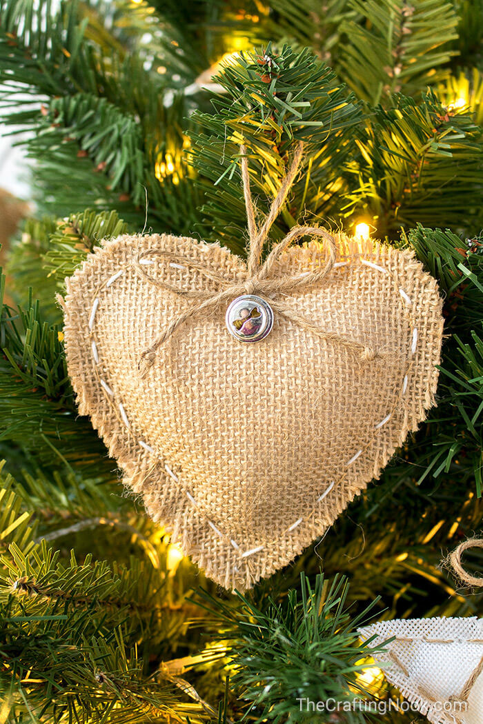 Beautiful Burlap Stitched Heart Trimming